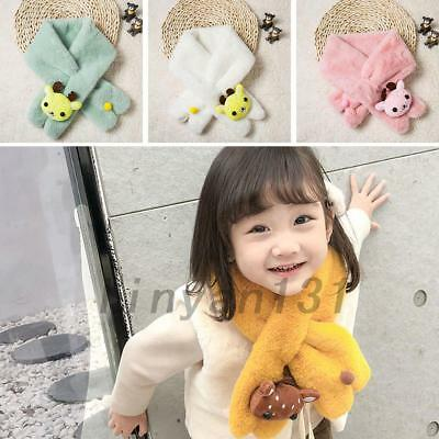 Lovely Baby Girls Boys Winter Warmer Scarf Coral Fleece Plush 7 Colors For 2-10Y