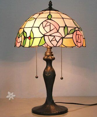 Tiffany Style Table Desk Bedside Home Lamps Stained Glass Rose Decor Light
