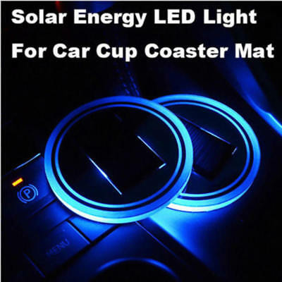 1PC Solar Cup Pad Car accessories LED Light Cover Interior Decoration Lights new