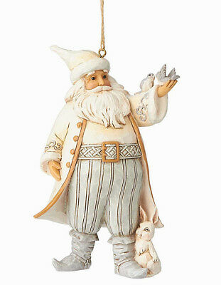Jim Shore*WHITE WOODLAND SANTA with BIRD ORNAMENT*New 2018*NIB*Christmas*6001419