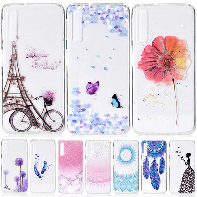 For Samsung A6 A7 A8 Plus A9 2018 Slim Patterned Soft Silicone Back Cover Case
