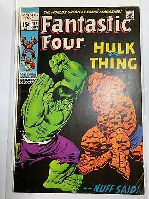 Fantastic Four #112 Vol 1 Hulk vs Thing Battle Marvel Comic Book MID HIGH GRADE
