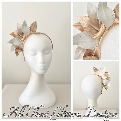 Ladies Off White & Rose Gold Leather Headband Fascinator Wedding Races