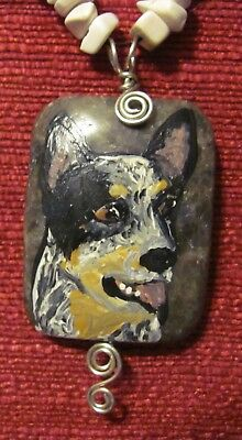 Australian Cattle Dog hand painted on rectangular wire wrapped pendant/bead/neck