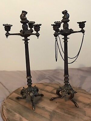Pair of Antique Large Bronze Candlesticks Mouse Mice Horses Hoof Gothic Regency