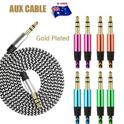 AUX Cable 3.5mm Jack Audio Male to Male Cord for Car Phone Braided Auxiliary Cab