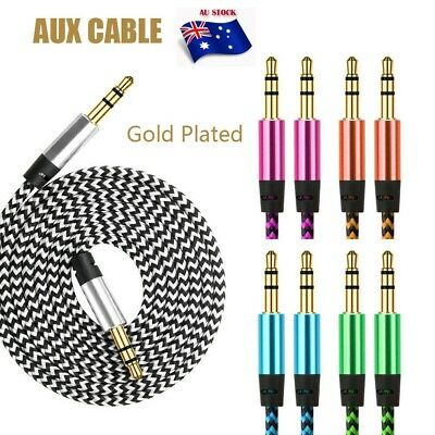 AUX Male to Male Cable Braided Audio 3.5mm Headphone Stereo Extension Cord Car