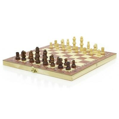 Folding Hand Crafted Wooden Chess & Draughts Travel Board Gift Set 24cm x 24cm