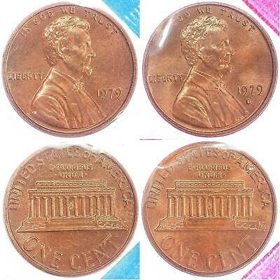 1979 P D Lincoln Memorial Cent BU US Mint Cello 2 Coin Penny Set