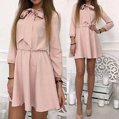 Women's Spring Autumn Vintage Solid Mini Dress Bow Casual Party Dress O-neck 8C