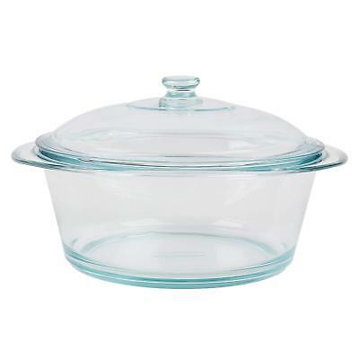 Pyrex 3.5 Litre Round Glass Casserole With Lid Home Kitchen Pots Serving Dish