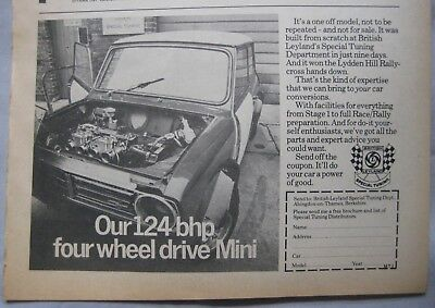 1972 British Leyland special tuning department Mini Original advert No.2
