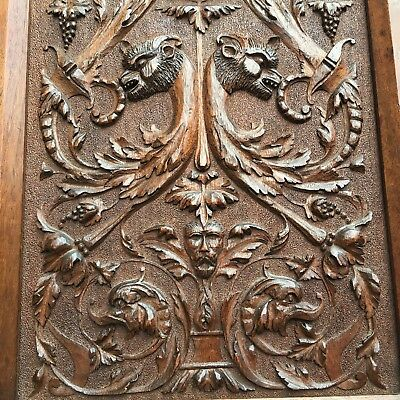 Antique Fine Satyr Serpent Griffin Panel Carved Wood Elaborate Framed QTY Plaque