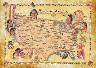 Native American Map Indian Photo Poster | Picture Print Wall Art | A4 GIFT