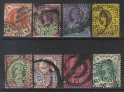 Great Britain 1887-1900 Jubilee Issue 8 Used Values Cat £64+