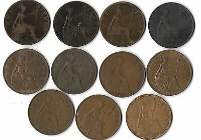 Great britain Uk  lot of 11 X 1 oenny coins