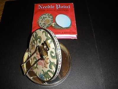 BEAUTIFUL VINTAGE Needlepoint HIDE-A-WAY MAKE UP MIRROR COMPACT  JAPAN