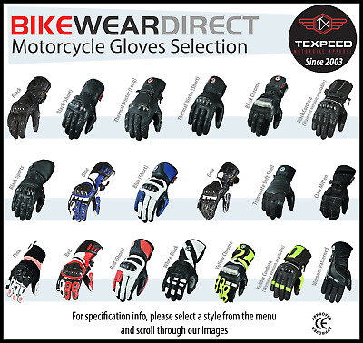 Motorbike Motorcycle Gloves Black Mens Biker Leather Textile CE Armoured Texpeed