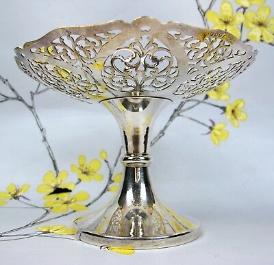 Superb vintage EPNS silver plated pierced footed CAKE MUFFIN FRUIT STAND / DISH.