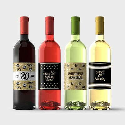 80th Birthday Wine Bottle Labels – Gold and Black 80th Birthday Party Decoration