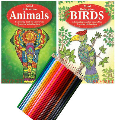2 X Adult Colouring Book Books Animals & Birds A4 Size with 20 Colouring Pencils