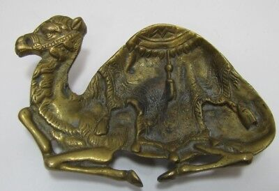 Old Brass CAMEL Tray Ashtray Card Tip Jewelry Trinket Figural Decorative Arts