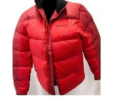 0c2eda2061aef Marmot Ouray 700 Down Fill Red Team Blue Jacket Bomber Puffer S M Men Ski  Board