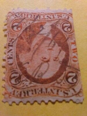 Us revenue stamps $0.02 red us interior
