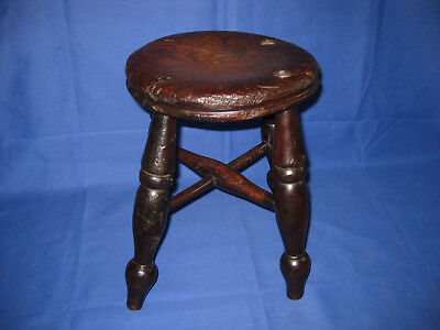 Antique Victorian Rustic Solid Oak Turned Leg Stool
