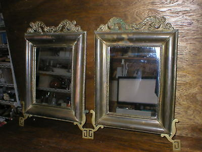 """2 Antique Asian Bronze Hanging Wall Mirrors 13"""" x 17 1/2"""" Rope Edge Wood Backing"""