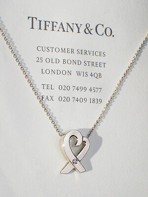 Tiffany & Co Paloma Picasso Sterling Silver 0.03ct Diamond Loving Heart Necklace