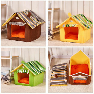 Foldable Pet Dog Cat House Bed Warm Soft Kennel Mat Puppy Cushion Removable New