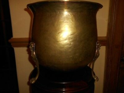 antique large arts&crafts brass jardiniere