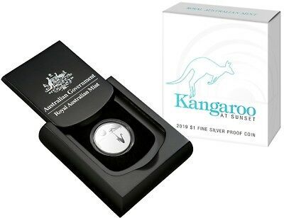 2019 Australia $1 Proof Silver .999 Kangaroo At Sunset Coin With COA
