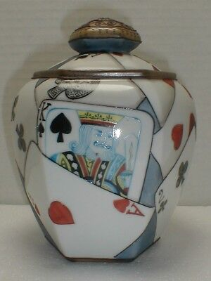Antique Japan Nippon Humidor - Hand Painted Playing Cards - Tobacco Jar