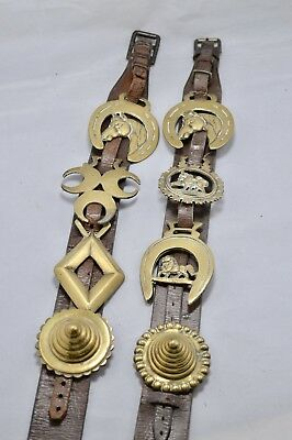 Pair of Beautiful Antique Vintage Horse Brass Brasses on Leather Strap