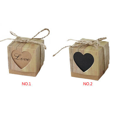 50/100×Kraft Paper Square Chocolate Candy Gift Boxes Wedding Party Favor Box