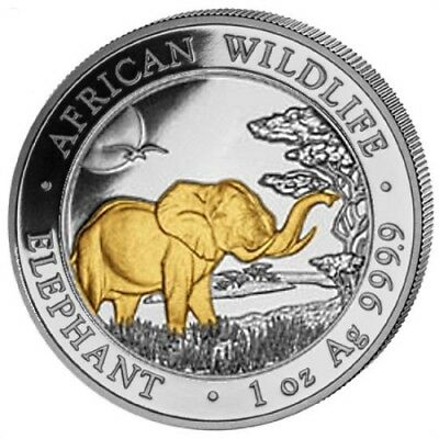 Official Somalia Silver Elephant 2019 1 Oz Pure Silver 24K Gold Gilded Coin Caps