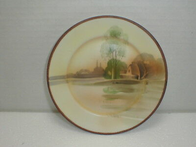 "Nippon Porcelain Scenic 6 5/16"" Plate - Hand Painted Maple Leaf mark"