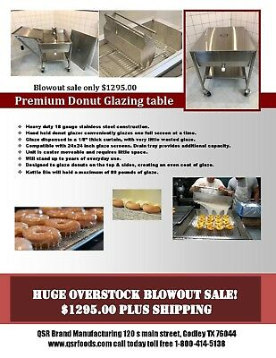 NEW Custom built S/S Doughnut Glazing table with cover and side table