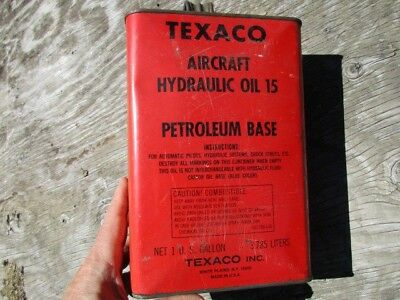 Vintage 1 Gallon Texaco Aircraft Oil Tin / Airplane Hydraulic Flying