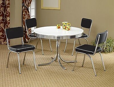 1950s STYLE CHROME RETRO DINING TABLE BLACK CHAIRS DINING ROOM FURNITURE SET