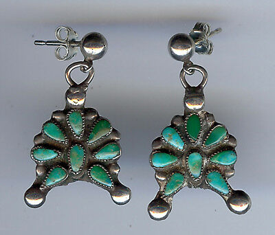Vintage Zuni Indian Silver Green Blue Turquoise Pierced Dangle Earrings
