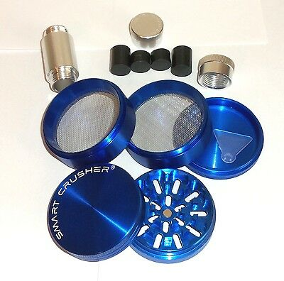 SMART CRUSHER LARGE Blue 5 Piece Titanium Coffee Tobacco Herb Grinder + Press