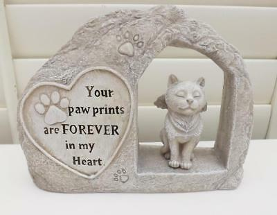 MEMORIAL PLAQUE for CAT NEW POLY- RESIN STONE EFFECT with words