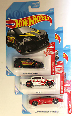 Hot Wheels Target Red Edition 3 Car Set in a Sterling Protector 57 Chevy VW Lamb