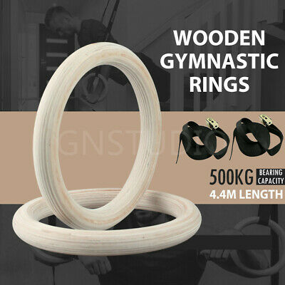 Wooden Gymnastic Olympic Rings Crossfit Gym with Cam Buckle Straps Fitness