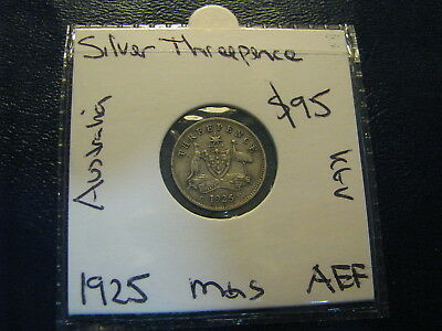 Australia 1925 Silver Threepence Coin About Extra Fine  3d KGV Free Post AUS