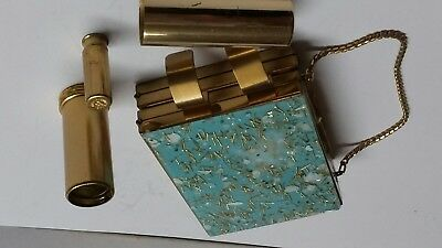 Vintage night out Zell Fifth Avenue compact lipstick  case. gold tone handle
