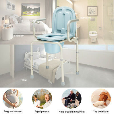 Heavy Duty Bedside Commode Chair Toilet Seat Bariatric Steel Height Adjustable